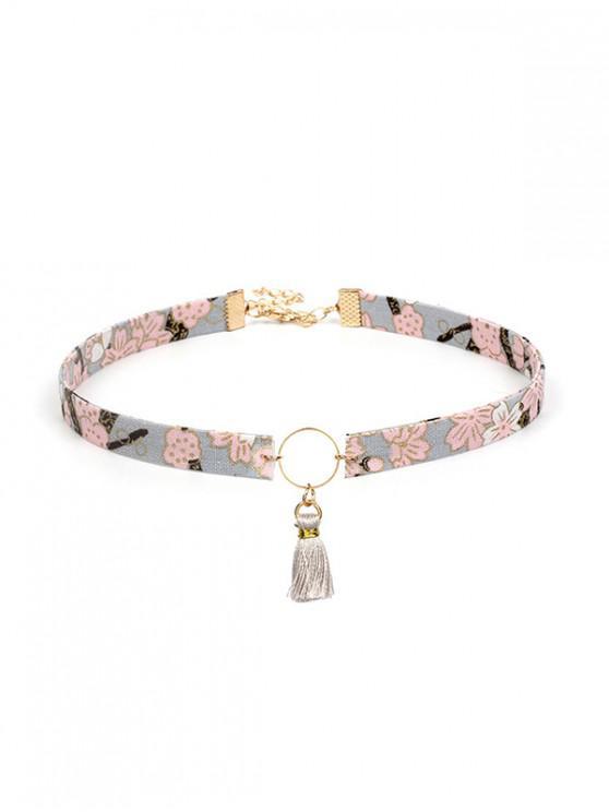 Gargantilla con estampado de borlas vintage y collar - Multicolor-A
