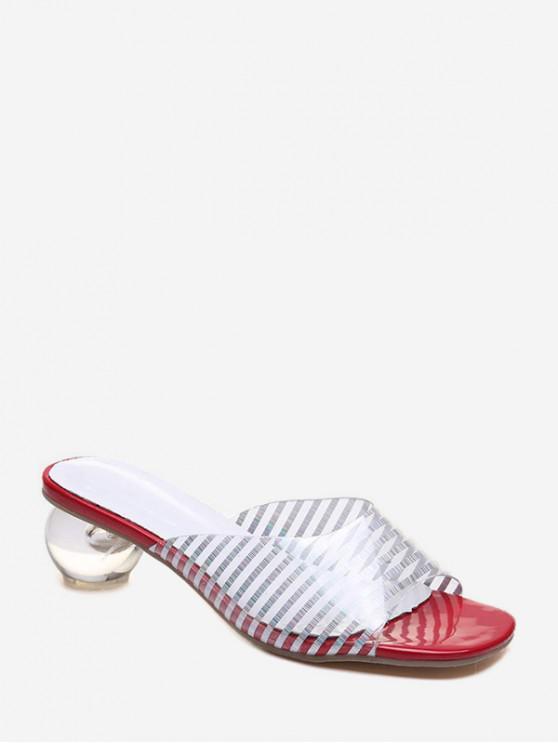 womens Stylish Heel Transparent Striped Pattern Sandals - CHESTNUT RED EU 36