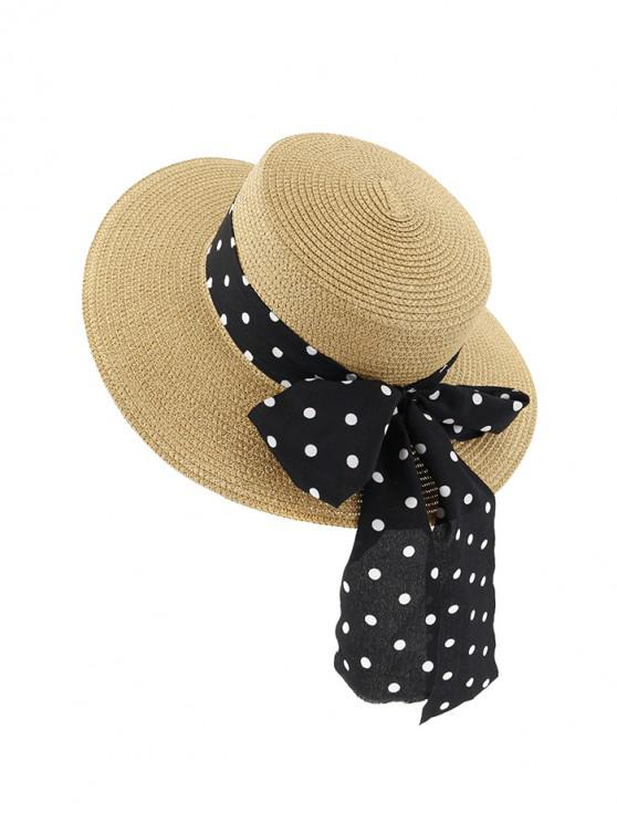 fancy Polka Dot Bowknot Beach Straw Sun Hat - KHAKI