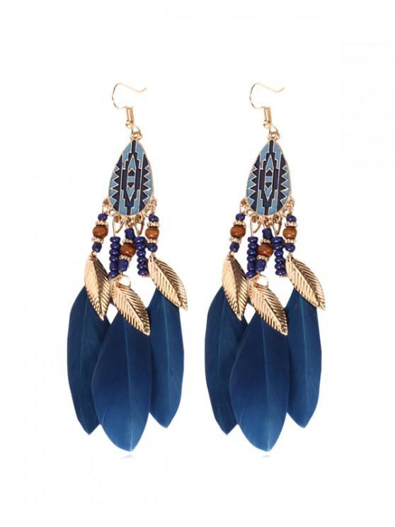 shops Water Drop Beaded Feather Fringe Earrings - OCEAN BLUE