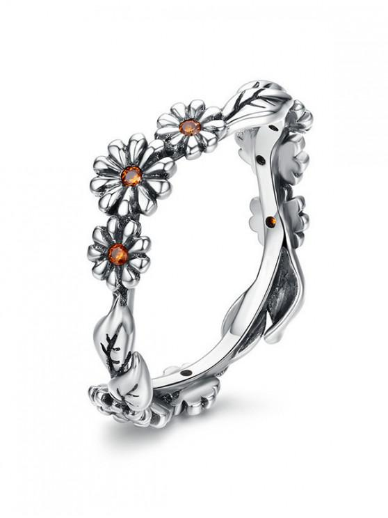 outfits Flower Decoration Alloy Rhinestone Ring - SILVER 10
