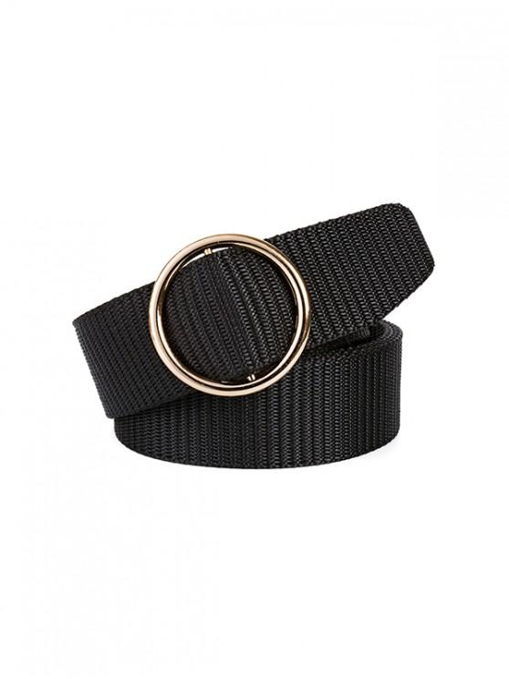 shops Simple Canvas Round Buckle Belt - BLACK