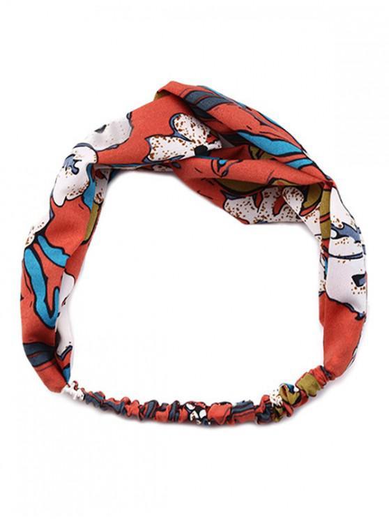 lady Bohemia Print Pattern Cross Elastic Headband - RED WINE