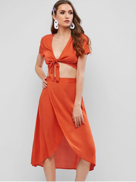 ladies ZAFUL Knotted Polka Dot Tulip Hem Two Piece Dress Set - ORANGE L