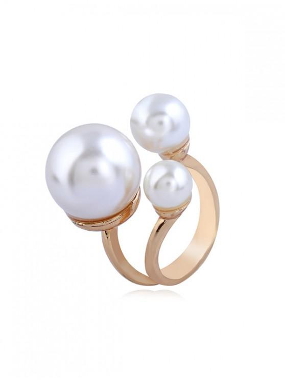 trendy Faux Pearl Alloy Open Ring - GOLD