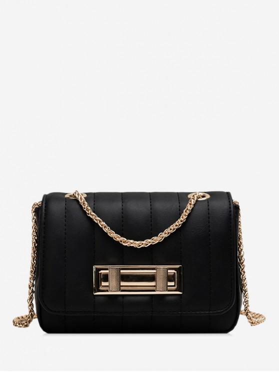 chic Square Chic Leather Chain Shoulder Bag - BLACK