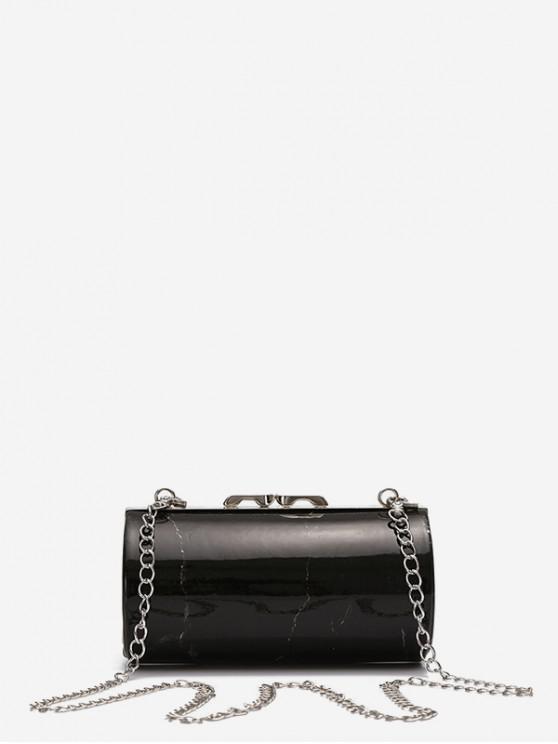 lady Marble Print Chain Cylinder Bag - BLACK