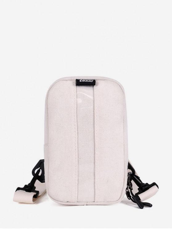 shops Simple PVC Panel Canvas Crossbody Chest Bag - WHITE