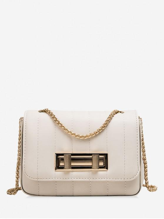 unique Square Chic Leather Chain Shoulder Bag - WHITE
