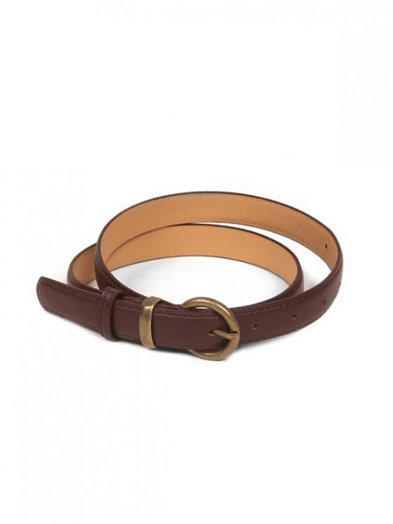 sale Metal Buckle Vintage PU Leather Belt - COFFEE