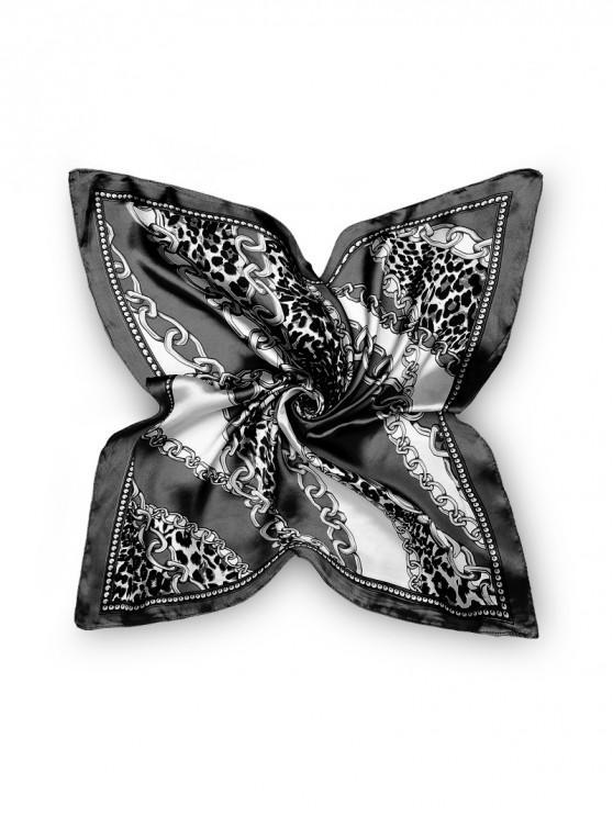 Bufanda cuadrada de leopardo patrón de cadena - Negro