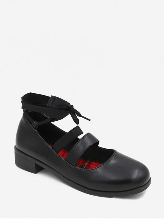 womens Round Toe PU Leather Ankle Wrap Shoes - BLACK EU 35