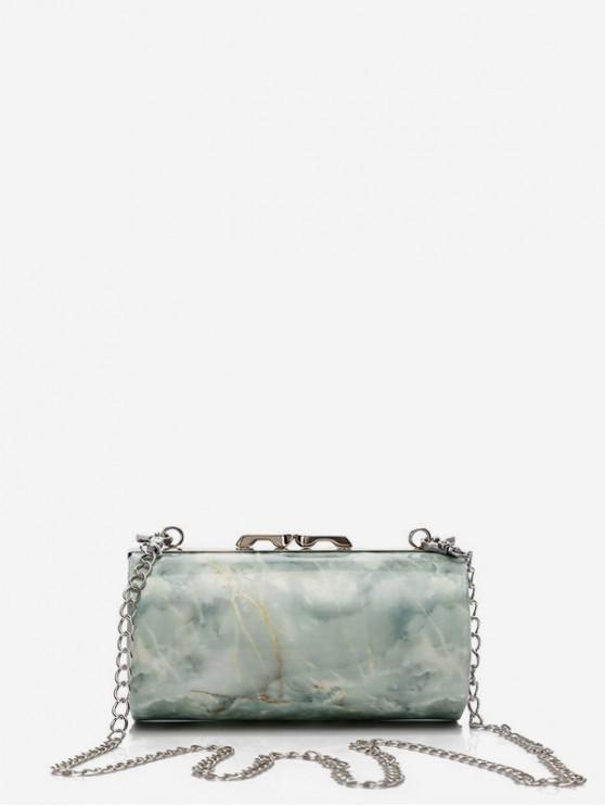shop Marble Print Chain Cylinder Bag - CYAN OPAQUE
