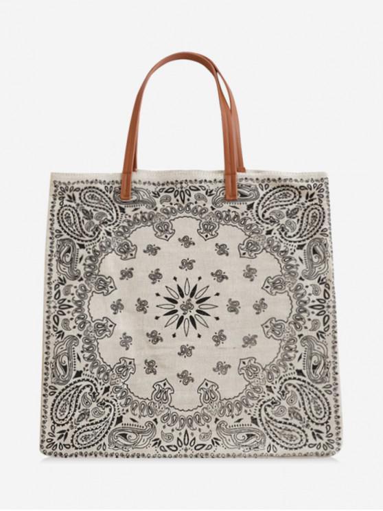 fashion Ethnic Print Canvas Shoulder Bag - BLACK