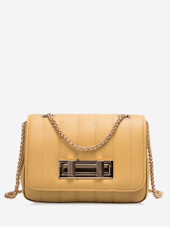 unique Square Chic Leather Chain Shoulder Bag - BEE YELLOW