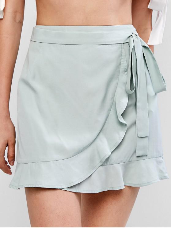 ZAFUL Ruffle Mini falda con cinturón - Azul Opaco L