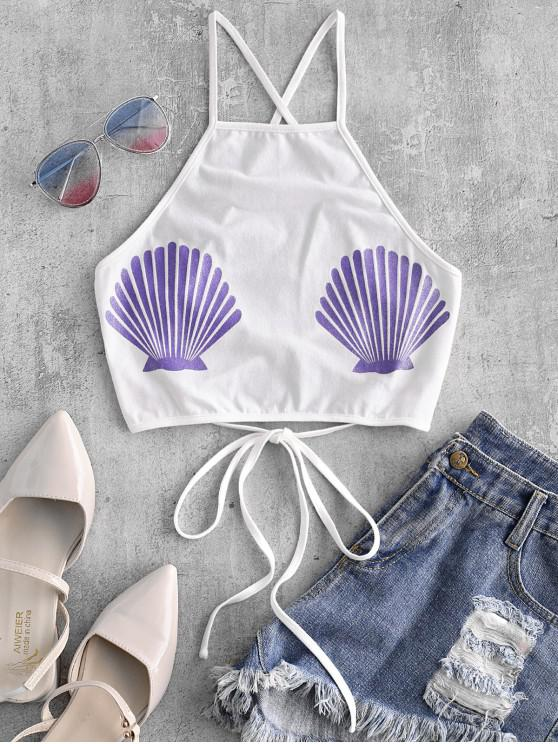 Top escotado sin espalda con estampado de conchas marinas de Sparkle - Blanco M
