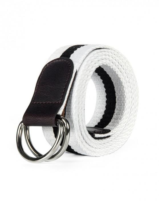 women Double Ring Canvas Knitted Striped Pattern Belt - WHITE