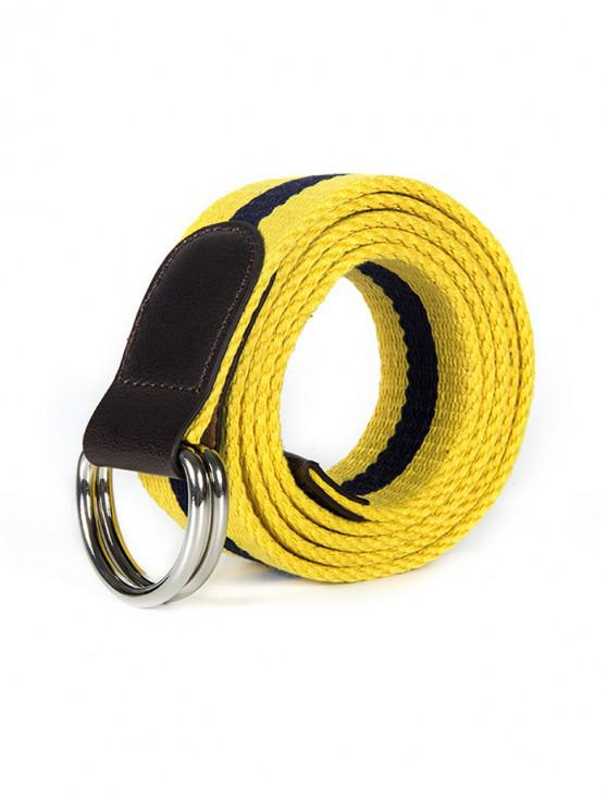 ladies Double Ring Canvas Knitted Striped Pattern Belt - YELLOW