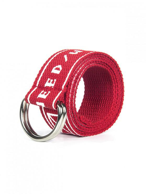 shops Letter Printed Knitted Waist Belt - RED