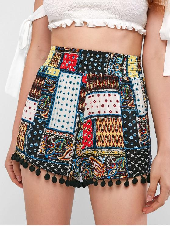 ladies ZAFUL Smocked Waist Tribal Print Pompoms Shorts - MULTI M