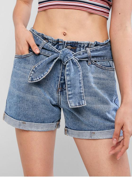 chic Rolled Hem Pocket Denim Paperbag Waist Shorts - DENIM BLUE M
