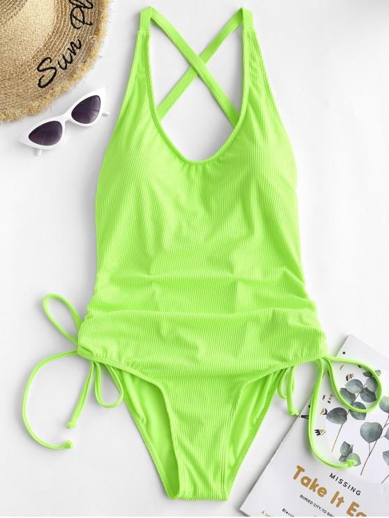 womens ZAFUL Ribbed Backless Cinched Tummy Control Swimsuit - GREEN YELLOW L