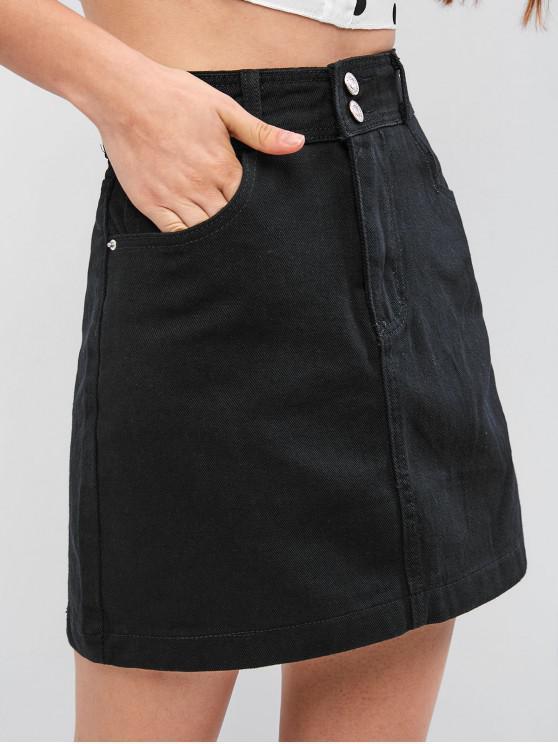 Mini falda vaquera con cintura alta de Zip Fly - Negro XL