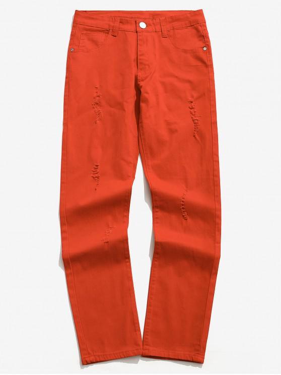 unique Solid Color Zipper Fly Ripped Jeans - PAPAYA ORANGE 32