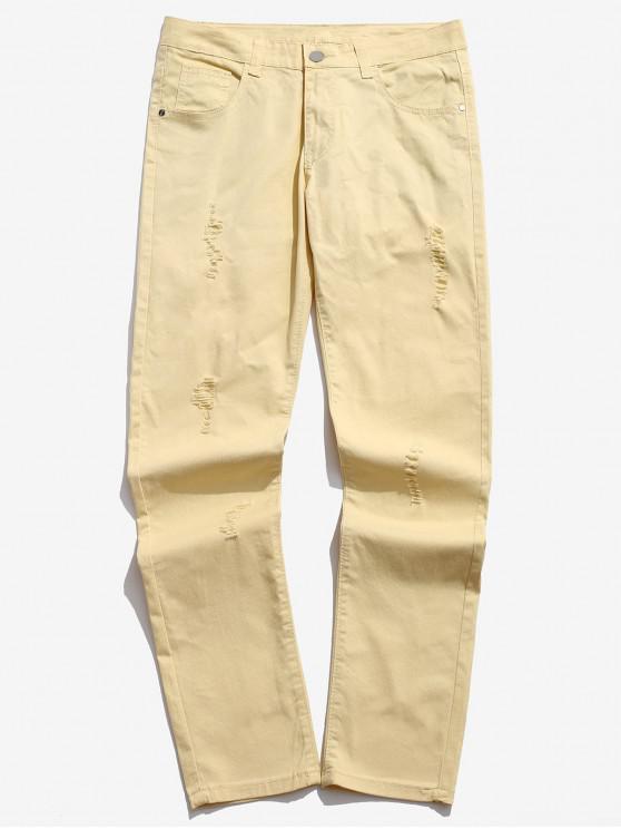 Jeans rotos con cremallera en color liso - Crema 42