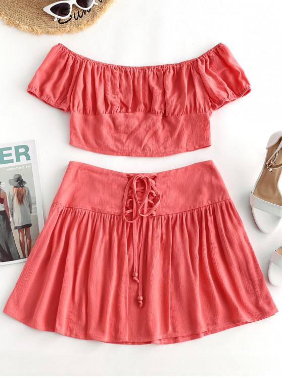 lady ZAFUL Off Shoulder Top and Mini Lace-up Skirt Set - FLAMINGO PINK S