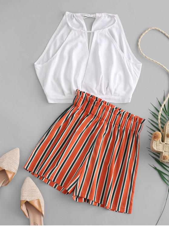 best ZAFUL Cropped Top And Stripes Paperbag Shorts Set - MULTI L