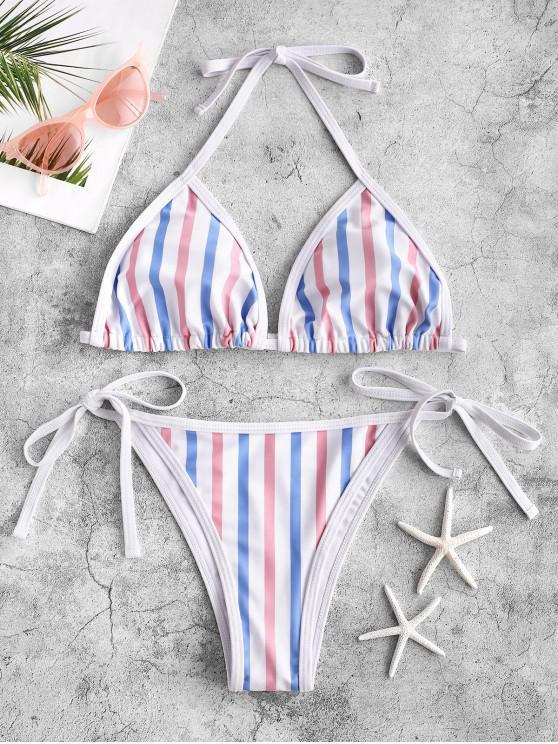 ladies ZAFUL Multi Striped Piping Tie String Bikini Swimsuit - MULTI-A S