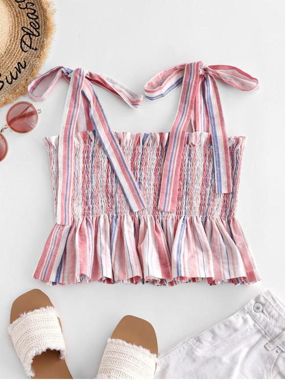 shop ZAFUL Tie Shoulder Striped Smocked Ruffled Frilled Top - PIG PINK L