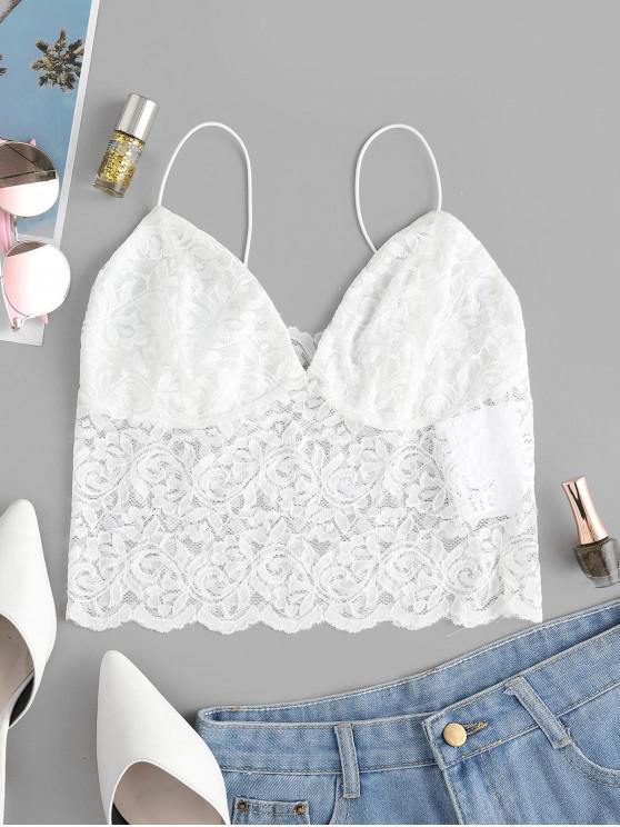 trendy ZAFUL Thin Strap Lace Camisole - WHITE M