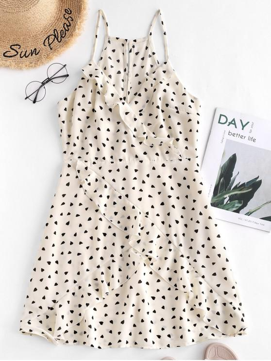 chic ZAFUL Ruffled Hearts Print A Line Cami Dress - BEIGE S