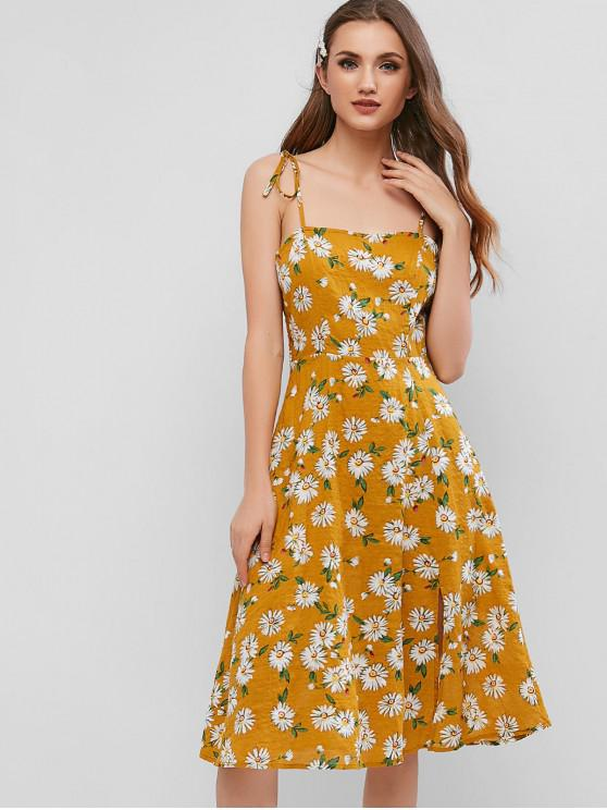 fancy ZAFUL Floral Smocked Tie Shoulder Slit Dress - ORANGE GOLD L