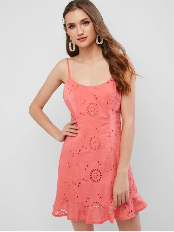 chic ZAFUL Eyelet Cami Frilled Hem Mini Dress - WATERMELON PINK S