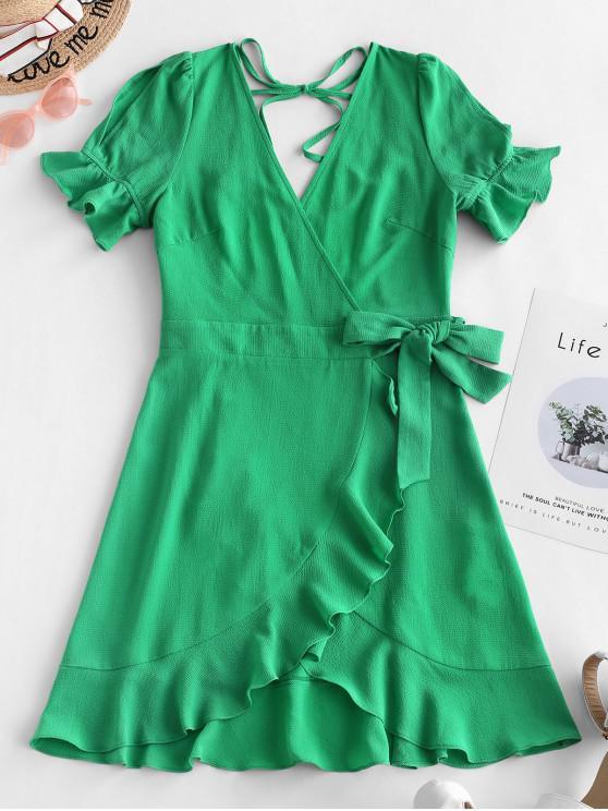 ZAFUL con espalda abierta con cuello en V vestido con volantes - Azul Verde Guacamayo  L