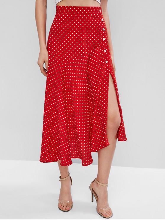 trendy ZAFUL Polka Dot High Waisted Midi Slit Skirt - RUBY RED M