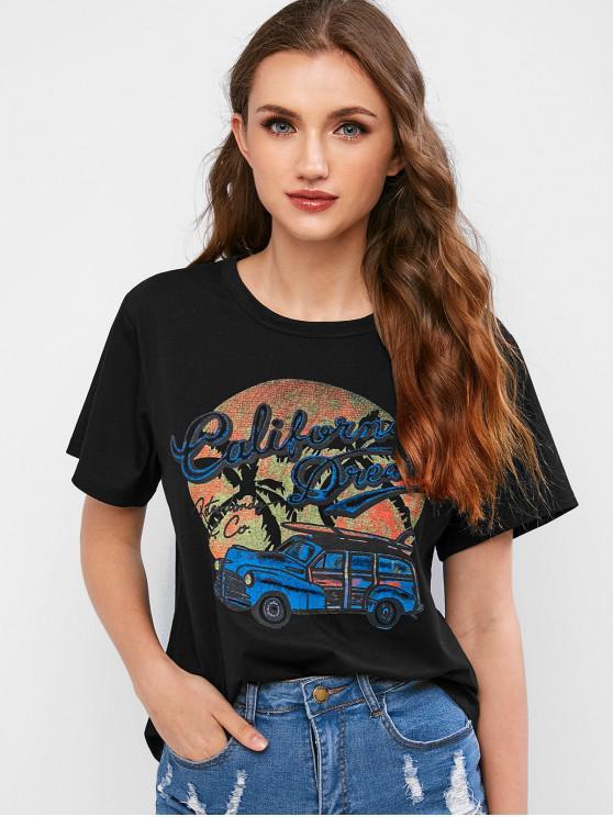 T-shirt Graphique Rétro Voiture - Noir M