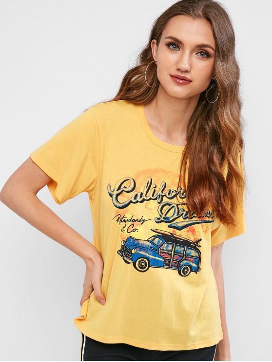buy Retro Car Graphic Tee - BEE YELLOW S