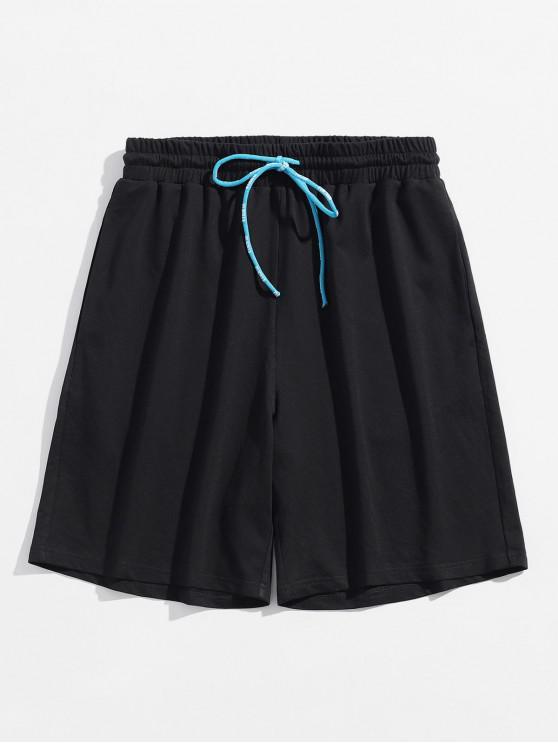 Patrón de letras con cordón Jogger Shorts - Negro L