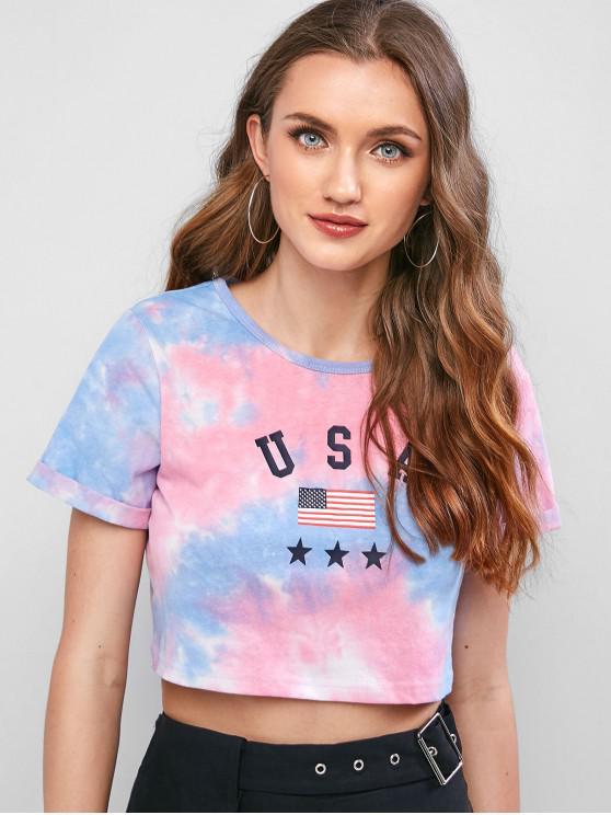 lady ZAFUL American Flag Tie Dye Crop Tee - MULTI M