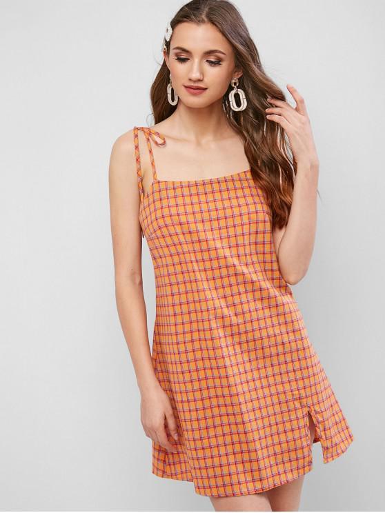 ZAFUL a cuadros con corte frontal mini vestido de deslizamiento - Naranja de Calabaza  L