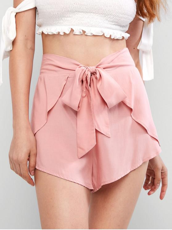 fancy ZAFUL Overlay Tie Waist Mini Shorts - PINK ROSE M