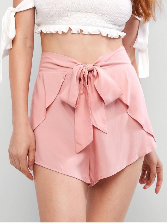 fancy ZAFUL Overlay Tie Waist Mini Shorts - PINK ROSE S