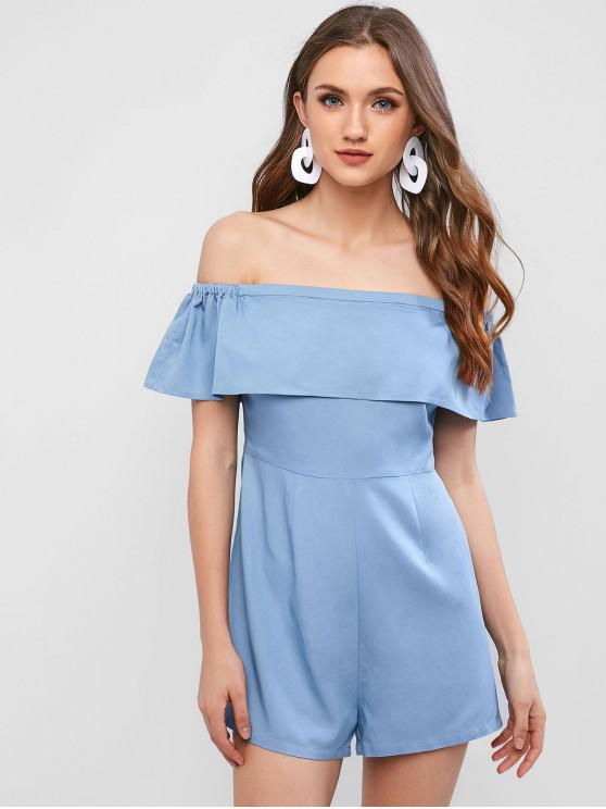 b13c75405e4fc9 20% OFF] [NEW] 2019 ZAFUL Off Shoulder Flounce Chambray Romper In ...