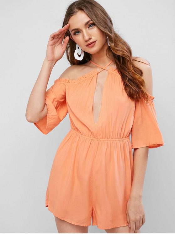 hot ZAFUL Cold Shoulder Frilled Bell Sleeve Romper - LIGHT SALMON S