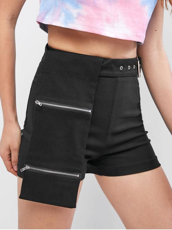 Однотонные шорты с карманами на молнии - Чёрный M
